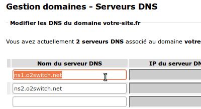 Serveurs DNS d'o2switch