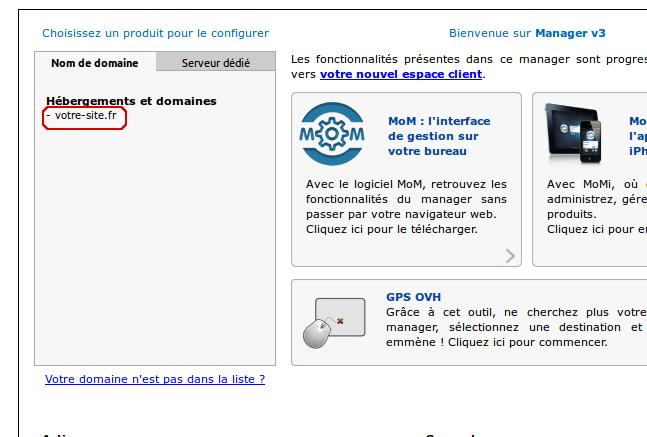 Sélection de votre nom de domaine