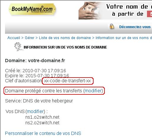 Code de transfert et déblocage de domaine chez bookmyname
