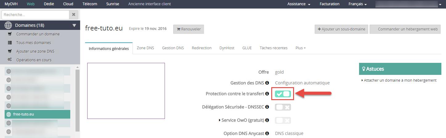 Déblocage du nom de domaine chez OVH