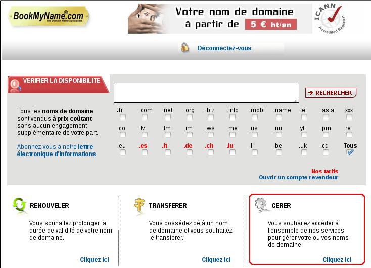 "Lien ""gérer"" sur bookmyname"