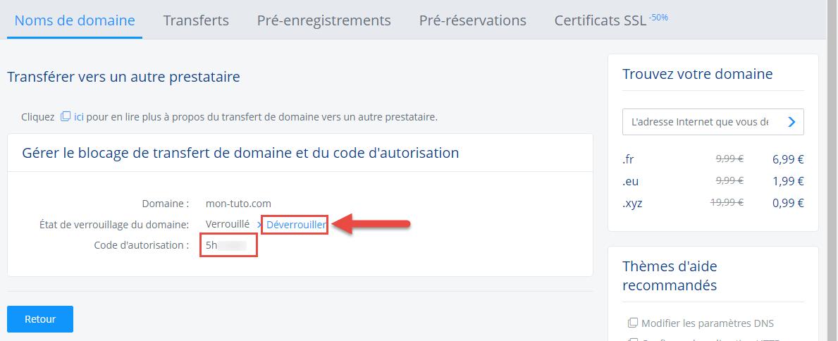 Dernière étape pour l'obtention du code de transfert d'un domaine chez 1&1