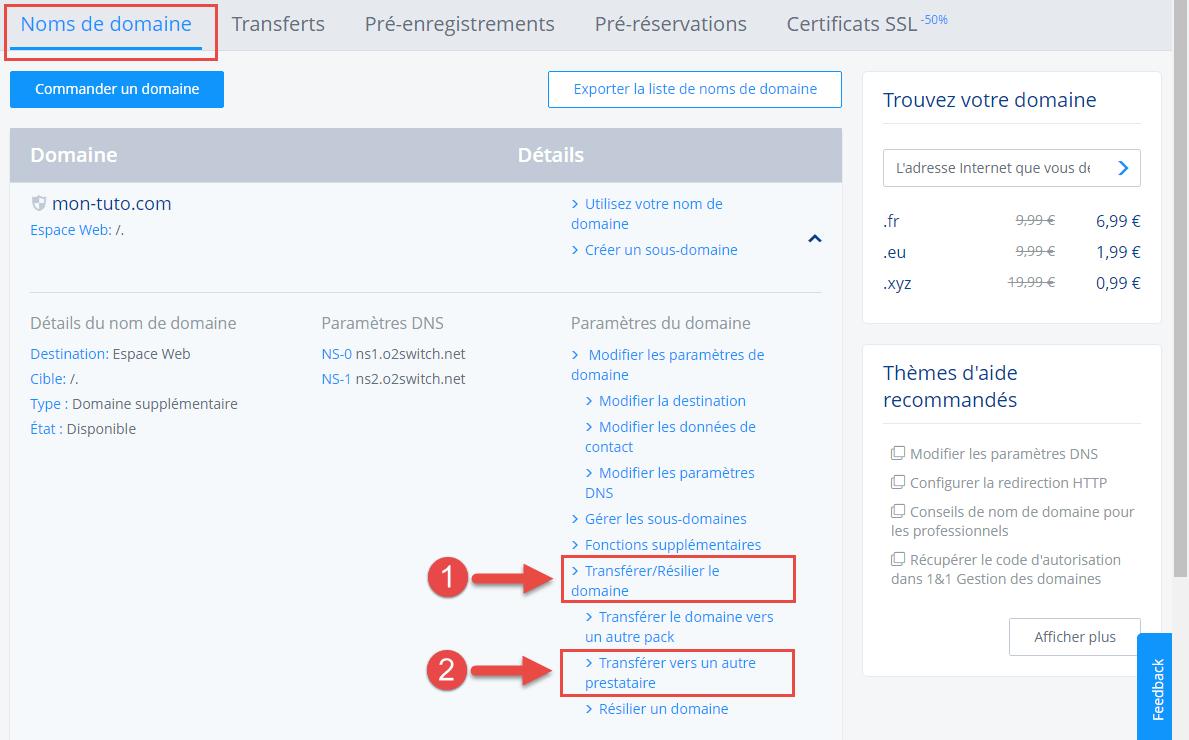 Récupération du code de transfert chez 1&1