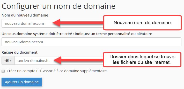 Configuration du nouveau nom de domaine pour le changement d'adresse du site WordPress