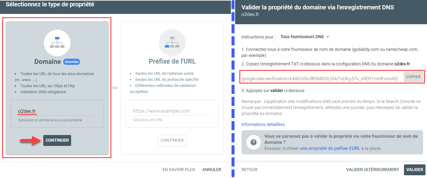 Récupération de la valeur TXT à configurer pour valider la propriété Google Console Search