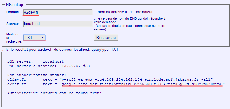 Vérification rapide que l'entrée TXT est présente avec un nsloopup en ligne