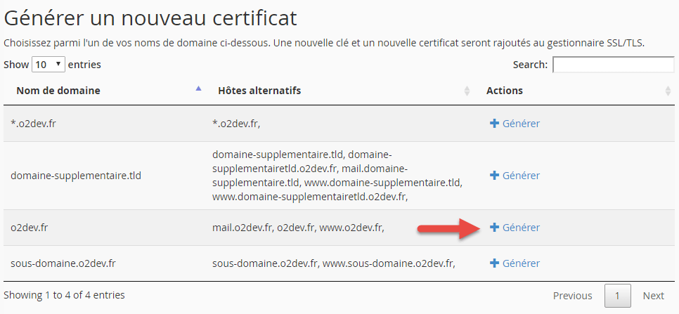 Première étape de l'activation d'un certificat let's encrypt